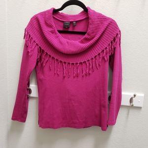 Rafaella Cotton Spandex Hot Pink Fringed Sweater